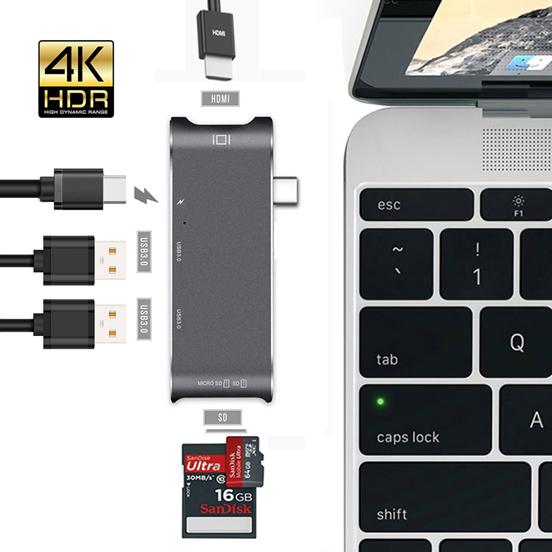 USB Type C H-U-B To 4K HDMI 6 In 1 Multiport Adapter USB 3.0 USB-C To Type C Charging S-D/Micro S-D Card Reader For MacBook Pro