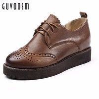 Guvoosm Spring Autumn Women Flats With Small Genuine Full Grain Leather Casual Shoes Woman Lady Retro Handmade Nomal Size