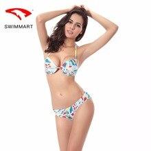 SWIMMART bikini sexy swimsuit with chest pad steel plate small super gathered printing swimwear women swim suit