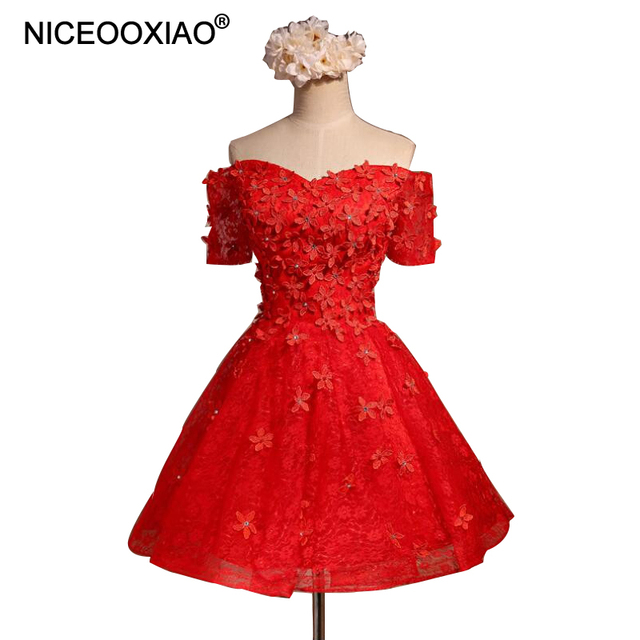 NICEOOXIAO Red Short Evening Dresses Elegant Party Ball Gown V neck ...