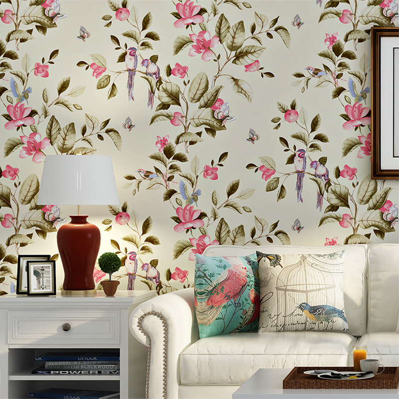 Beibehang American garden flowers and birds green wallpaper wedding room bedroom living room TV background walls 3d wallpaper