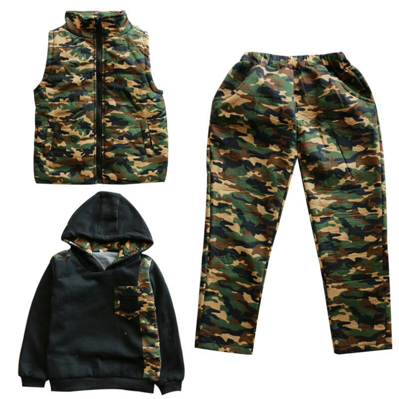 Boys Clothing Sets Camouflage Vests & Hoodies & Pants 3Pcs Thicken Cotton-Padded Waistcoats Girls Outfits 5 8 7 9 11 13 15 Years