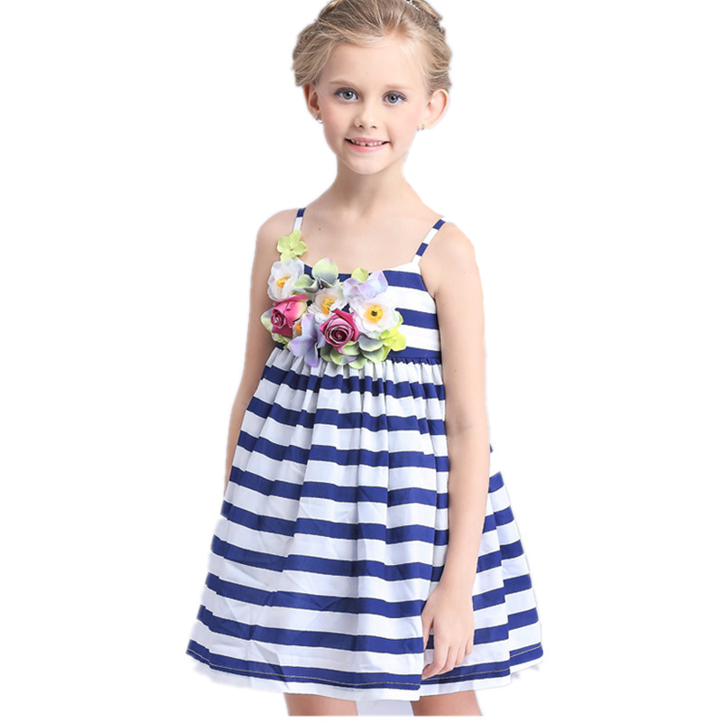 ФОТО 2016 New Arrival European style summer children clothing girls Floral dress princess dress striped cotton clothes Sling dresses