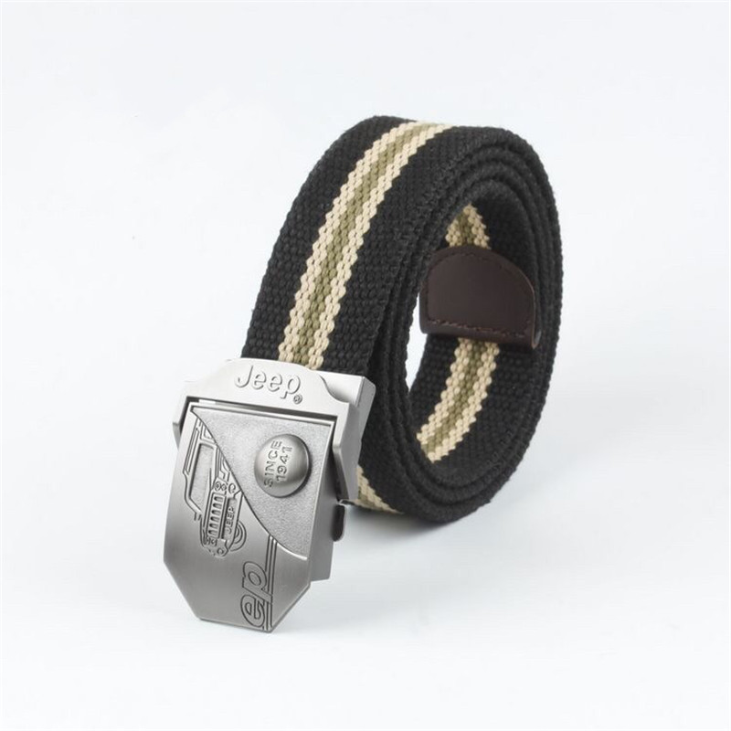 Men&Women High Quality  Canvas Belt Men's Automatic Buckle Alloy Jeep Buckle Canvas Belt Youth Casual  Thickened Belt