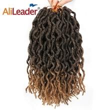 AliLeader 12 18 дюймов вязание крючком Nu Locs плетение волос крючком синтетические волосы Омбре коричневый черный faux Locs Curly крючком Африканский корень