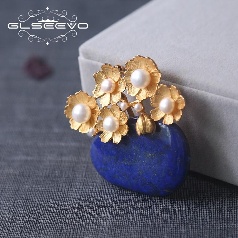 Здесь можно купить  GLSEEVO Natural Lapis Lazuli Fresh Water Pearl Flower Brooch Pins For Women Party Gifts Dual Use Brooches Luxury Jewelry GO0191  Ювелирные изделия и часы