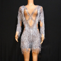 Stage Costumes For Singers Silver Fringed Rhinestone Jumpsuit Birthday Outfits Women Nightclub Bodysuit Rave Nude Clothes DT959