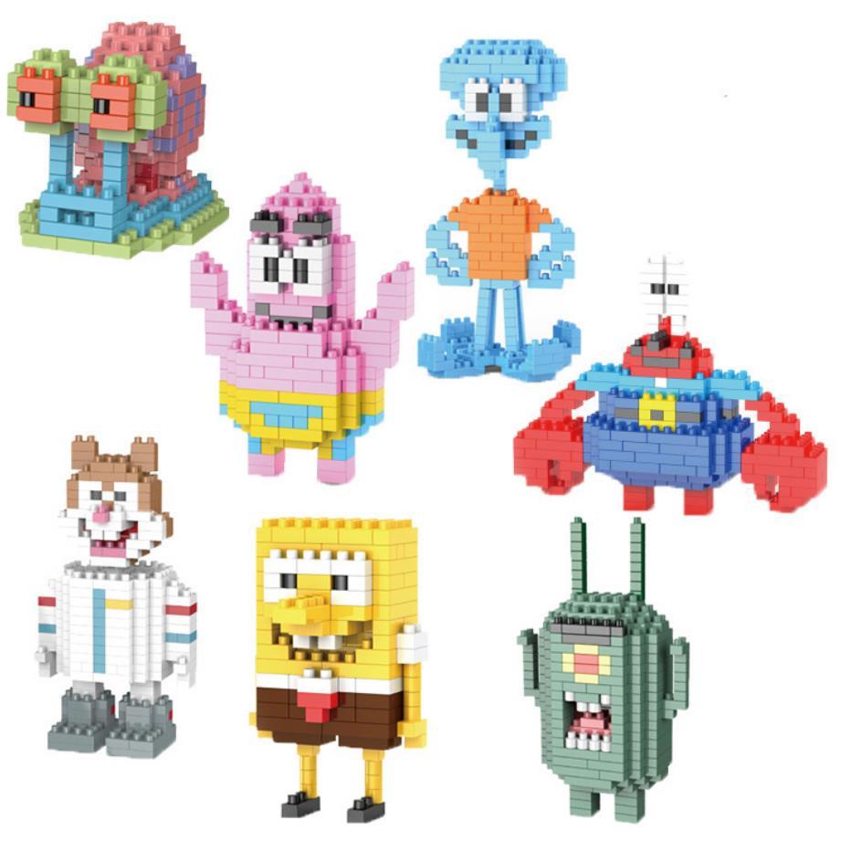 Amerikanischen cartoon Sterne bild micro diamant building block SpongeBob Patrick Thaddäus Krabs Sandy Schnecke nanoblock spielzeug ziegel