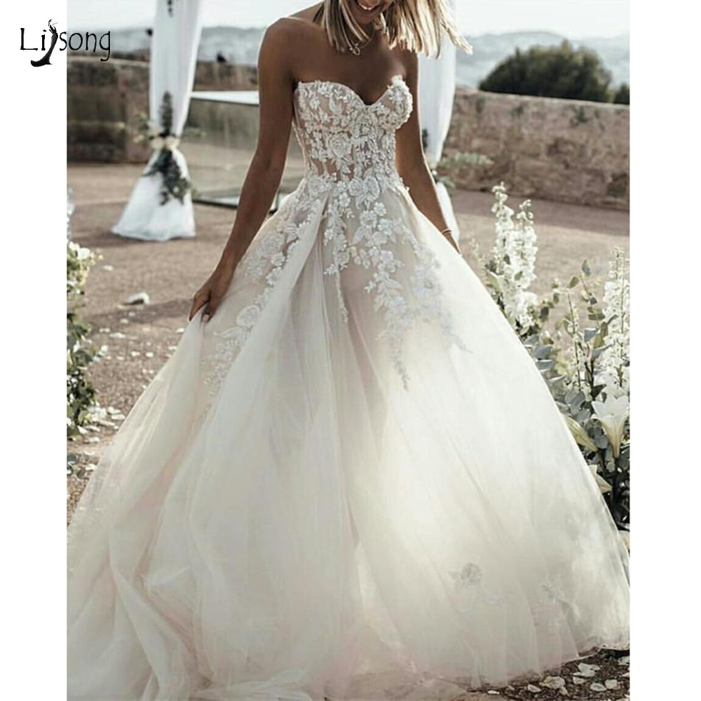 Beach Bridal Dress Lace Embroidery Sweetheart See Through Corset Tulle Wedding Dresses 2019 Off Shoulder Abiye
