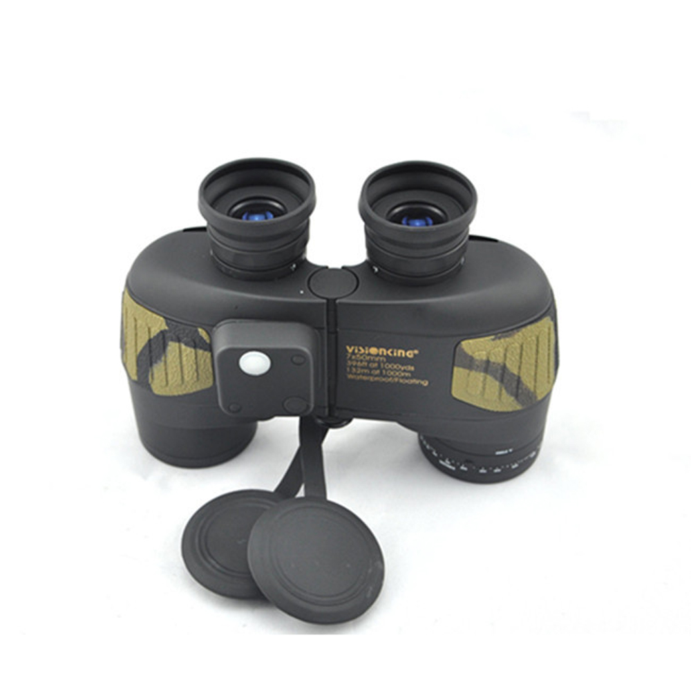 Visinking 2 IN 1 7x50 Marine Floating Binoculars With Build-In Compass Reticle Range Finder Military  Rangefinders For Hunting бинокль bushnell 7x50 marine compass 137500