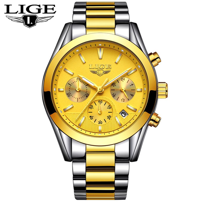 2018 New LIGE Mens Watches Top Brand Luxury Full Steel Business Quartz Watch Men Military Sport Waterproof Clock Relojes Hombre men watch top luxury brand lige men s mechanical watches business fashion casual waterproof stainless steel military male clock
