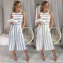 Hirigin Women Casual Sleeveless O Neck Striped Print Pochets Bodycon Romper Jumpsuit Clubwear Long Pants sleeveless cut out dressy high neck pants romper