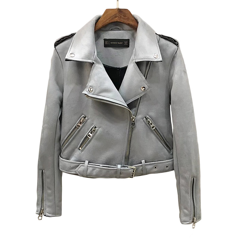 autumn coat Women   Leather     suede   faux   leather   jacket zipper belt moto jacket Cool streetwear ladies'   leather   jackets winter