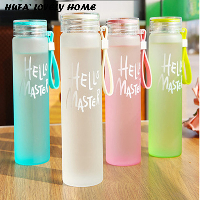 f0c89e9bad 480ml Leakproof Water Bottle With Lid Cute 4 Color Coffee Milk Water Direct  Drinking Glass Bottle Nice Drinkware Gift
