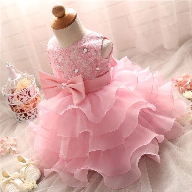 6b3672d70 Menina bonita Do Bebê Macio Infantil Batizado Vestidos Menina Bebê de 1 Ano  Primeiro Aniversário Vestidos