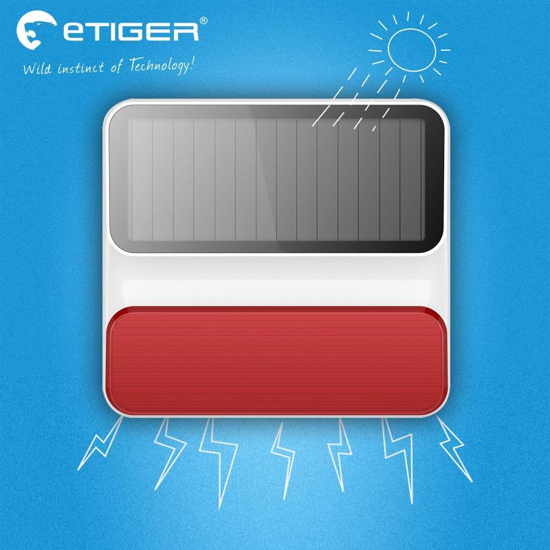 ETIGER Sans Fil en plein air ES-S8A Sans Fil En Plein Air Solaire Strobe Sirène pour Système D'alarme Etiger S4/S3