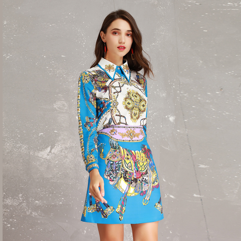High Quality New 2019 Spring Runway Designer Print Long Sleeve Beads Turn down Collar Blouse + Skirt Suits Women Twinsets-in Women's Sets from Women's Clothing    3