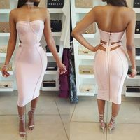 Pink Strapless Women Dresses Short Formal Prom Party Dresses 2017 Sexy Vestidos Bandage Dress Hollow Out