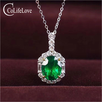 Vintage Silver Emerald Pendant Birthday for Woman 5 mm * 7 mm Natural Emerald Silver Pendant Solid 925 Silver Emerald Jewelry