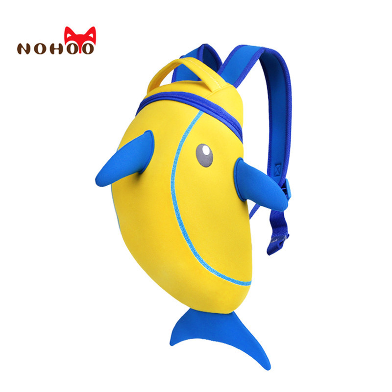 Nohoo 3D Dolphin Cartoon Animal School Bags For Girls Boys Cool Children Backpack Kindergarten Shoulder Backpack Kids Baby Bags 3d fantastic animal prints horse unicorn backpacks for teenagers boys girls kids backpack school bags children mochila escolar