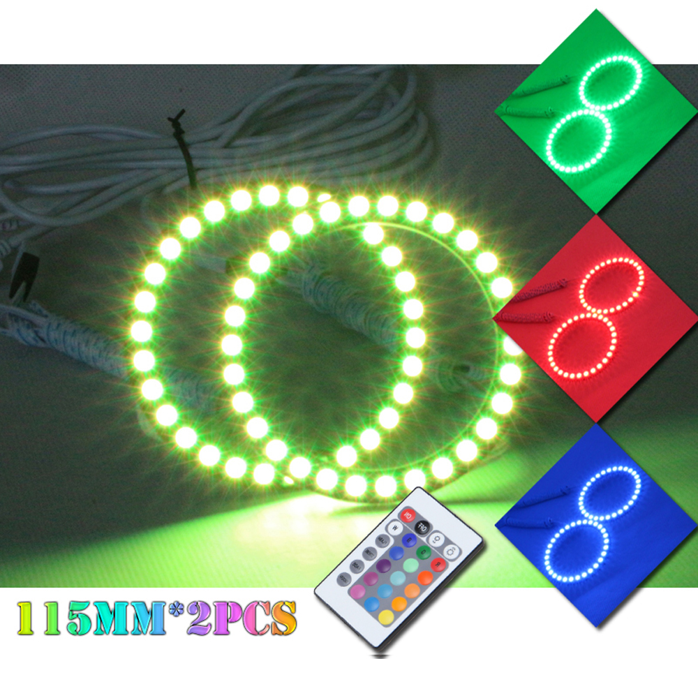 ФОТО 5050 SMD Auto Halo Ring Headlight 2*115mm Angel Eyes Kit Led Motor Car DRL Angeleye 115mm DRL For Cars Motorcycle