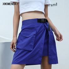 Асимметричные мини-юбки, женские повседневные однотонные шорты с карманами, короткая юбка, летняя женская уличная одежда, пуговицы, полубоди, Saia