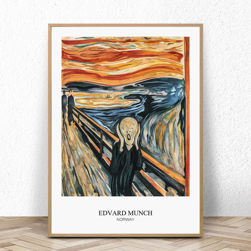 The Scream By Edvard Munch Art Print Poster Canvas Wall Picture Famous Painting For Living Room Home Decorarion