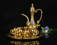 Europe gold +black Coffee/Wine/tea Set zinc metal wine glass barware set for home/bar/dining decoration wine tool set JJ071