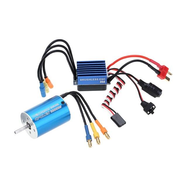 2838 3600KV 4500KV 4 P Sensorless Motor sin escobillas y 35A sin escobillas ESC controlador de velocidad electrónico para 1/14 1/16 1/18 RC coche