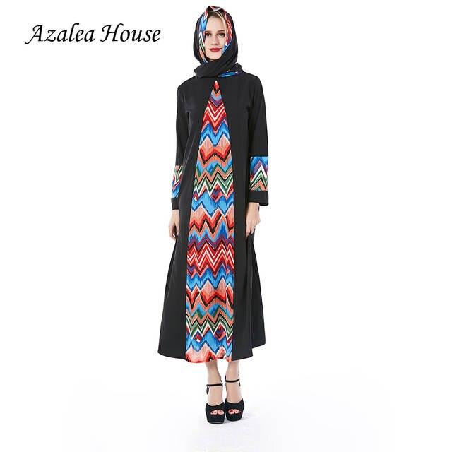 2018 Azalea House Muslim Women Dress Wave patte Plus Size Black Robe abaya  islam Dresses Regular sleeve Scarf Dress