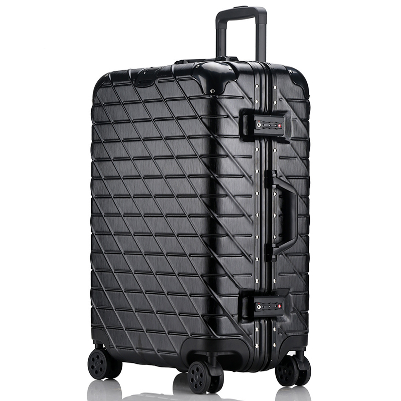 Letrend Aluminium Frame Rose Gold Rolling Luggage Spinner Trolley Travel Bag 20 inch Women Men Carry On Suitcases Wheels Trunk