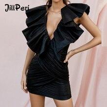 JillPeri Dianna Schwarz Übertrieben Krause Strukturierte Kleid Frauen Stretch Metallic Wet Look Solide Outfit Promi Party Mini Kleid
