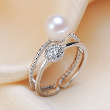 ייחודי אופנה פרל טבעת הרכבה, טבעת מציאת, מתכוונן טבעת תכשיטי חלק אבזרי קסם אביזרי תכשיטי כסף