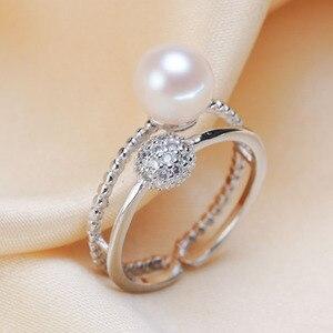 Image 1 - ייחודי אופנה פרל טבעת הרכבה, טבעת מציאת, מתכוונן טבעת תכשיטי חלק אבזרי קסם אביזרי תכשיטי כסף