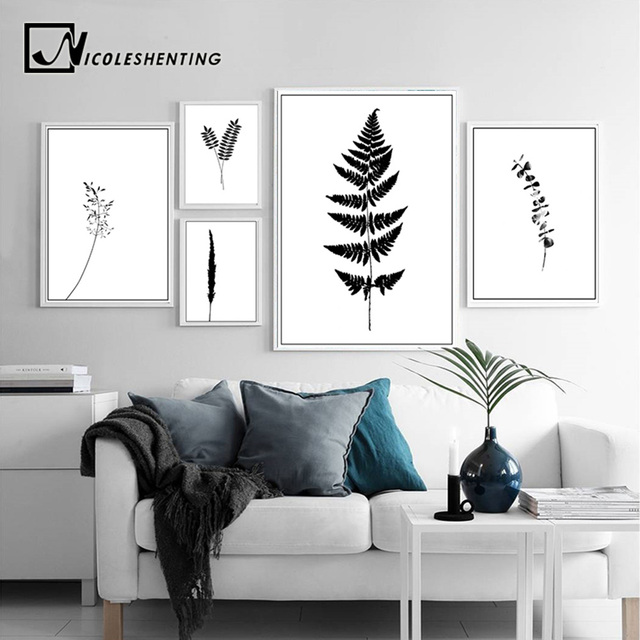Black White Plants Leaves Canvas Poster And Prints Abstract Minimalist Wall Art Painting Decorative Picture