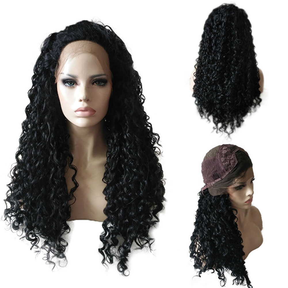 Curly Lace Front Long Hair Wigs Brazilian Remy Hair High Temperature Fiber Wig HS11 8a brazilian full lace human hair wigs