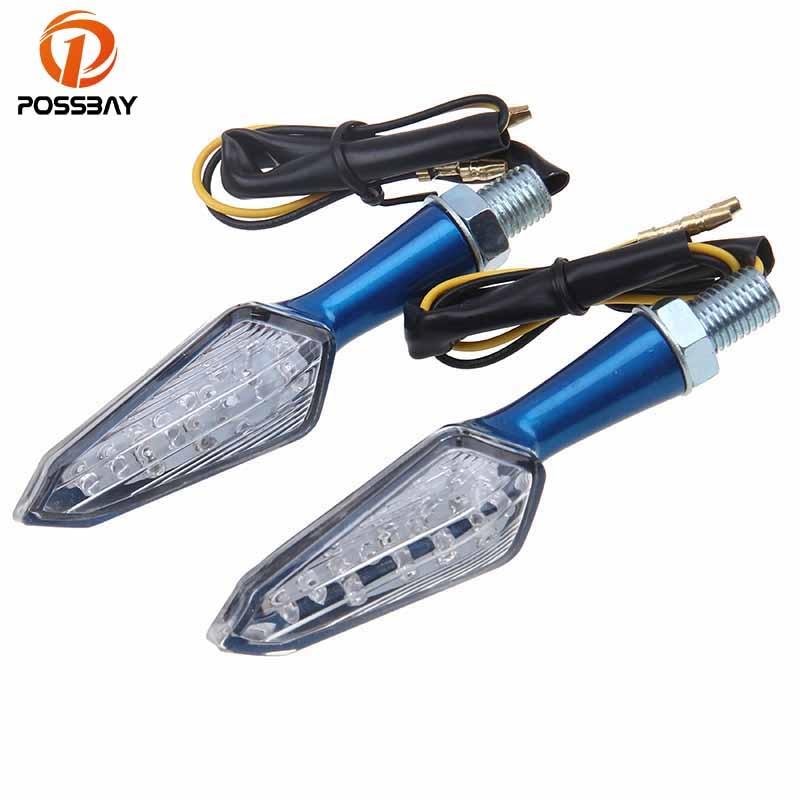 POSSBAY Aluminum Alloy Motorcycle Turn Signals Light Flasher Lamps Universal Fit for Honda Led Motocross Motorbike Blinker Light