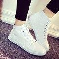 Zapatillas de lona del top del alto zapatos de las mujeres zapatos casuales a cuadros al aire libre atan para arriba zapatos femeninos zapatillas alpargatas sapatos XK083044