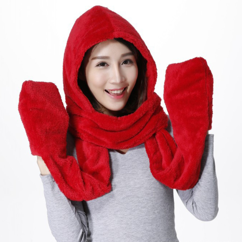 SH003 Solid Plain Women Winter Hats Warm Fluffy Earflap Caps Multifuction Female Winter Sets Women Scarf Hat Gloves Sets