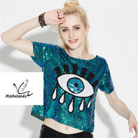 Vrouwen Zomer Korte Mouw Pailletten Evil Eye Sparkle Glitter Hiphop T-Shirt Korte Top Podium Jazzdans Kostuums