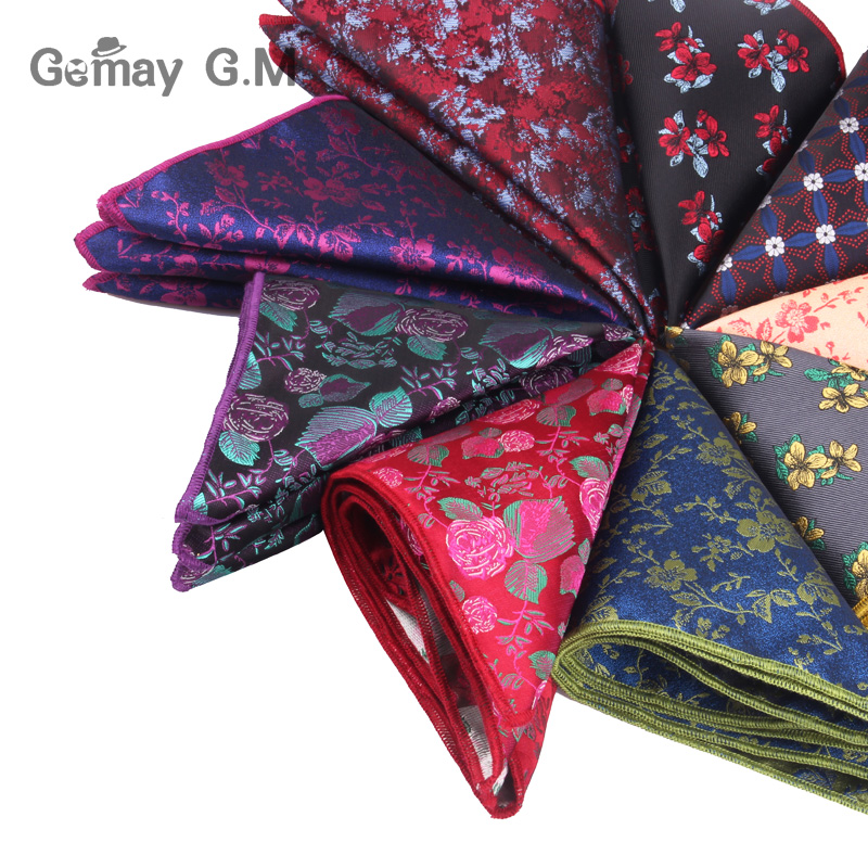 Men Handkerchief Floral Jacquard Pocket Square For Gift Wedding Vintage Hankies For Pocket Towel Suits Chest Towel 25 X 25 Cm