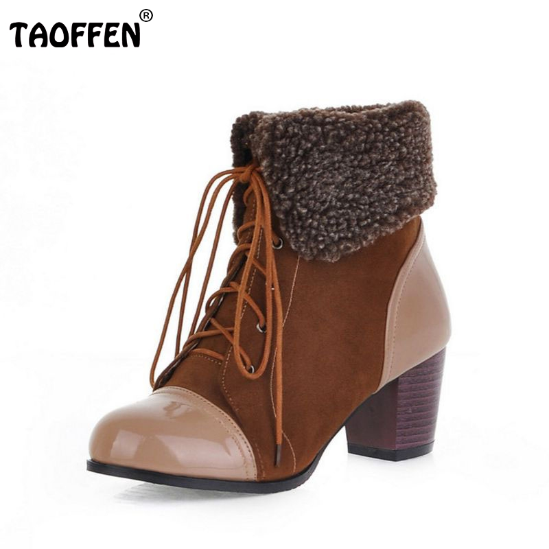 size 34-46 women high heel half short ankle boots winter martin snow botas fashion footwear warm heels boot shoes P7279 стоимость