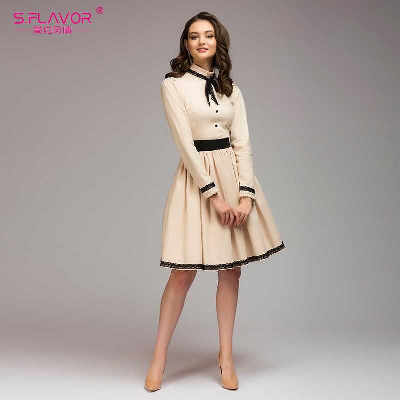 S. вкус Женские винтажные Платье трапециевидной формы Лидер продаж Твердые кружева лоскутное до колен Vestidos Для женщин демисезонное платье