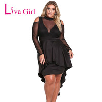 2018 Sexy Black Plus Size Party Mini Dress For Women Fishtail Mesh Long Sleeve Turtleneck Large Size Dresses Sheath Vestidos XXX