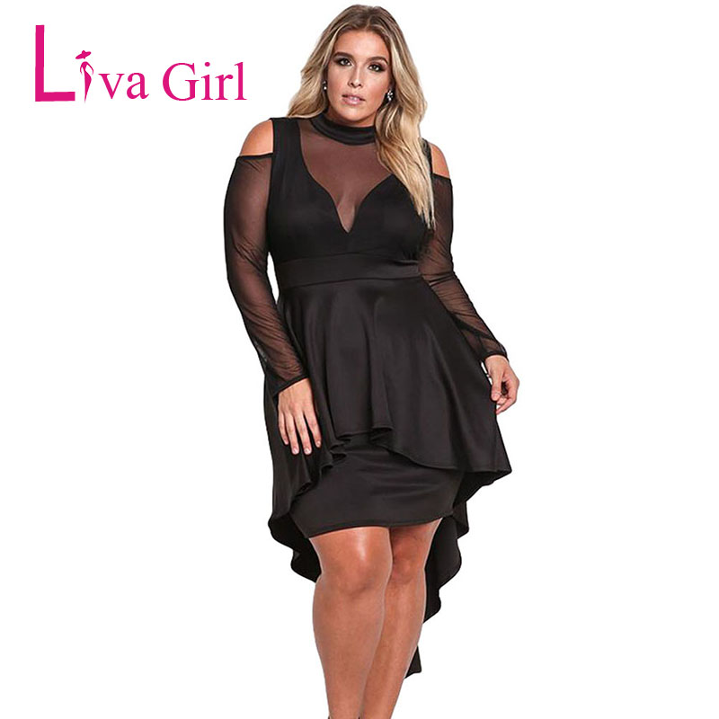 LIVA GIRL Sexy Black Cold Shoulder Plus Size Mini Dress Women Sheer Mesh Long Sleeve Large Bodycon Party Dresses Vestidos XXXL