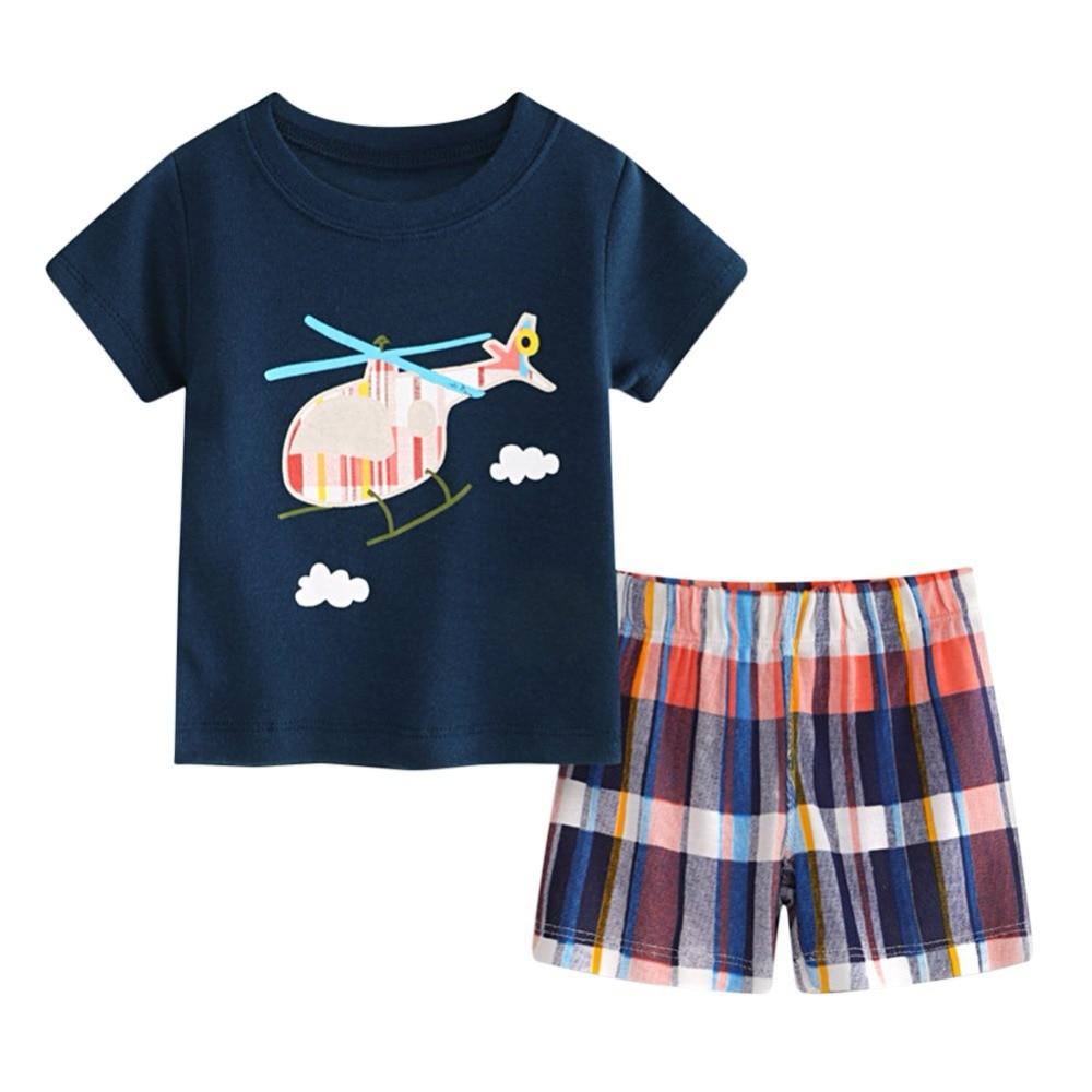 Baby boy clothes summer kids clothes sets t-shirt+solid pants suit Clothes newborn sport suits hot sale