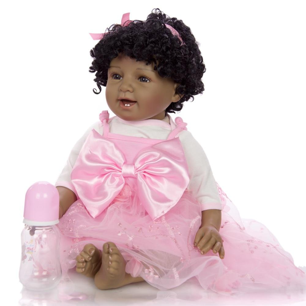 NPK boneca reborn bébé poupée noir simulation bébé vinyle silicone poupée jouets cadeau pour enfants bébé africain fille bebes reborn