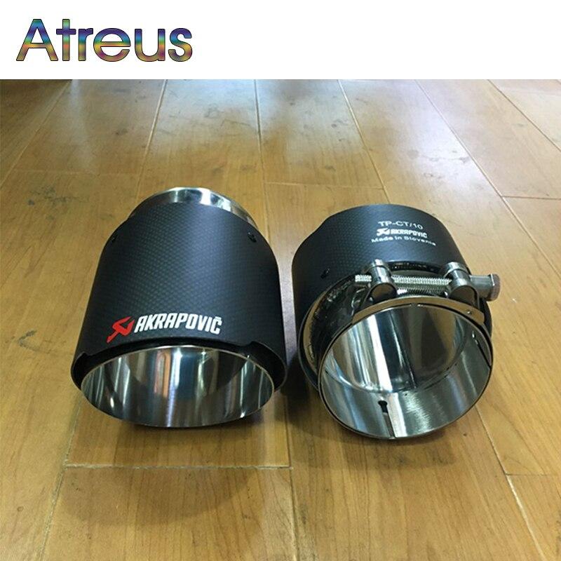 Atreus Carbon Fibeer Akrapovic Tips Car Exhaust Pipe For BMW X5 e53 e70 X6 e71 x1