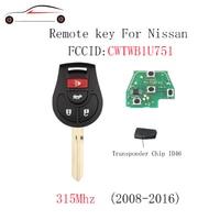 Substituição de gorbin 315 mhz para nissan rogue 2008 2016 para nissan versa 2012 2013 2014 2015 chave remota fob sem corte id46 chip|Chave do carro|   -