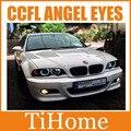 Free transporte sedan ou coupe e46 ccfl angel eyes kit 131 e 146mm anéis (2big + anéis 2 anéis pequenos), carro CCFL olhos para BMW E46